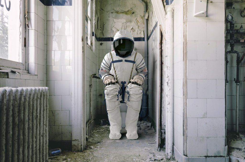 astronaut on toilet