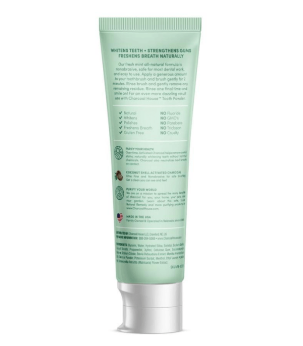 adult mint charcoal toothpaste back