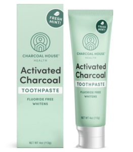 adult mint charcoal toothpaste with box