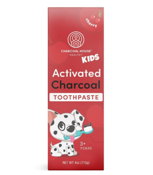childrens cherry charcoal toothpaste box front