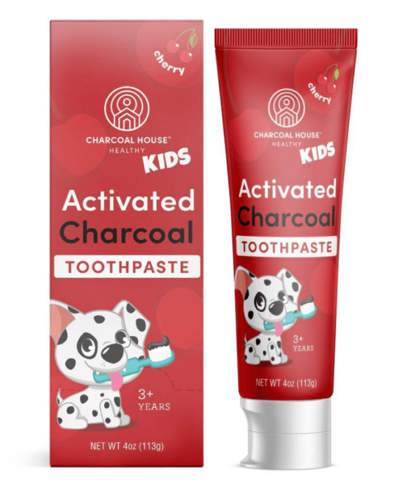 kids cherry charcoal toothpaste with box