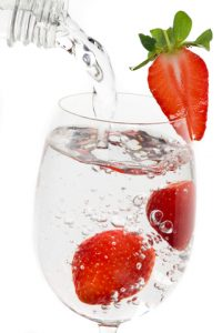 water with strawberries